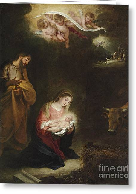 The Nativity With The Annunciation To The Shepherds Beyond Greeting Card by Bartolome Esteban Murillo