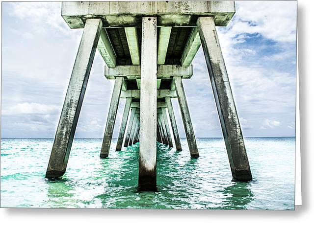 Florida House Greeting Cards - The Navarre Fishing Pier  Greeting Card by Shelby  Young
