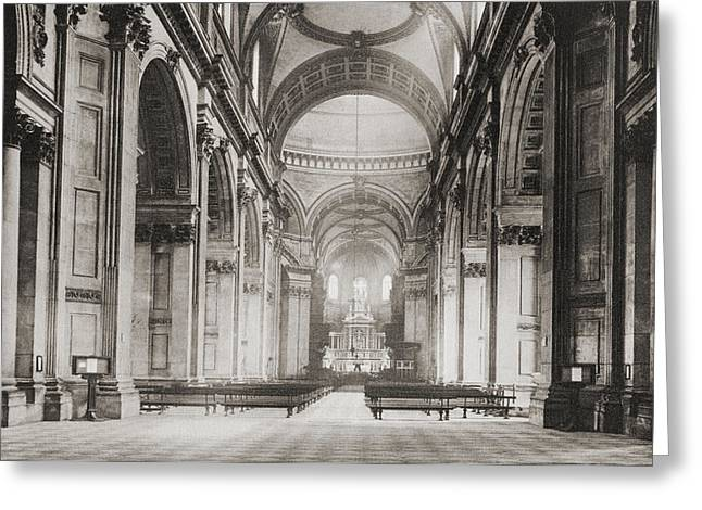Saint Christopher Greeting Cards - The Nave Of St. Paul S Cathedral Greeting Card by Ken Welsh
