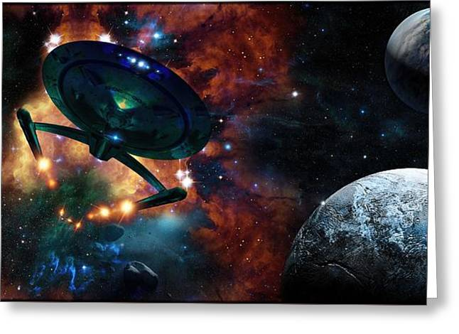 Enterprise Digital Art Greeting Cards - The Nebula Worlds Of Arhum - An Homage To Spock Greeting Card by Daniel  Arrhakis
