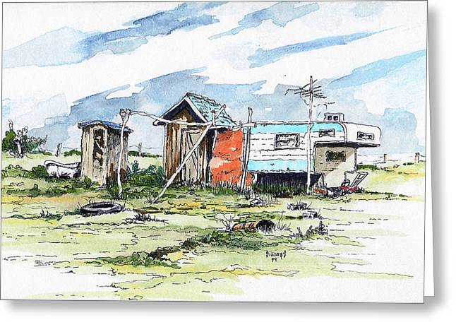 Shed Paintings Greeting Cards - The New American Dream Greeting Card by Sam Sidders