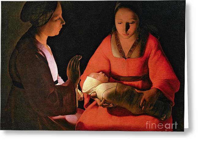 Candlelight Greeting Cards - The New Born Child Greeting Card by Georges de la Tour