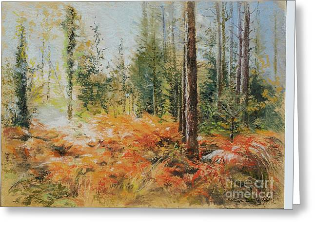 Fir Trees Pastels Greeting Cards - The New Forest Greeting Card by Kathryn Dalziel