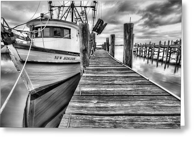 Shrimp Boat Captains Greeting Cards - The New Horizon Shrimp Boat BW Greeting Card by JC Findley