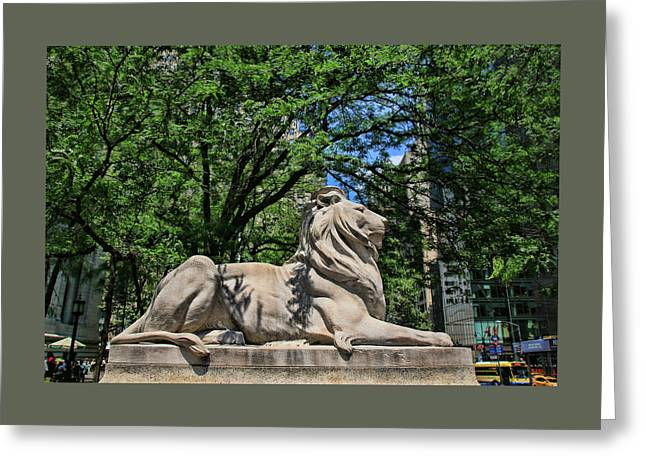 Historic Statue Greeting Cards - The New York Public Library Lions Greeting Card by Allen Beatty