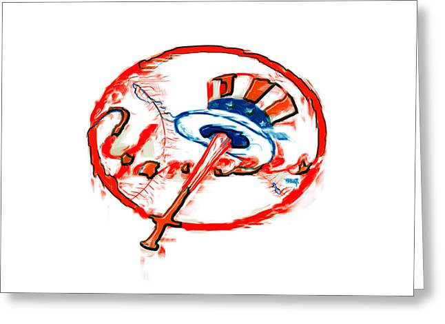 Ballpark Mixed Media Greeting Cards - The New York Yankees Greeting Card by Brian Reaves