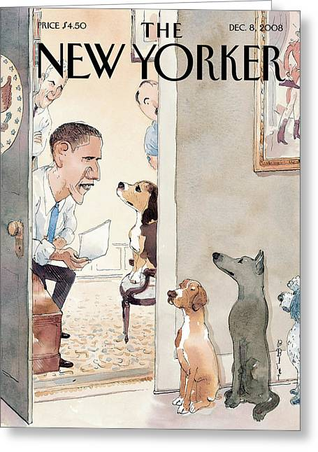 President Obama Greeting Cards - The New Yorker Cover - December 8th, 2008 Greeting Card by Conde Nast