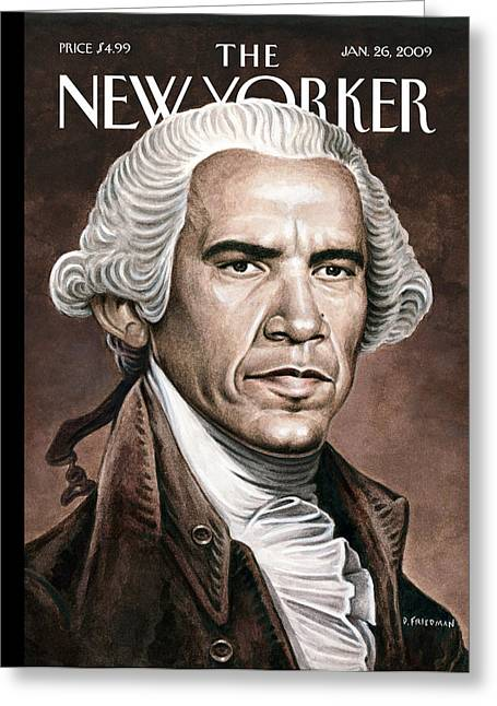 President Obama Greeting Cards - The New Yorker Cover - January 26th, 2009 Greeting Card by Conde Nast