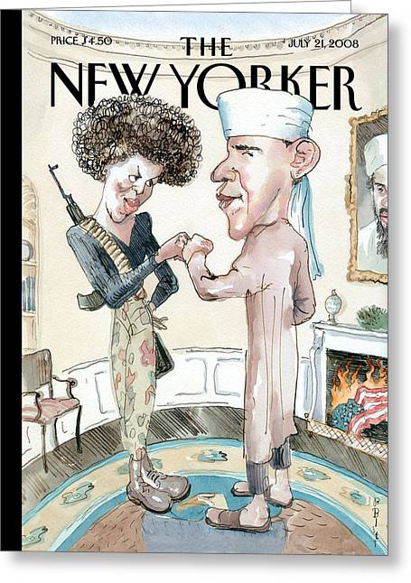 Michelle-obama Greeting Cards - The New Yorker Cover - July 21st, 2008 Greeting Card by Conde Nast