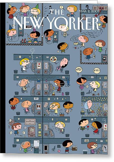 Cubicle Greeting Cards - The New Yorker Cover - March 2nd, 2009 Greeting Card by Conde Nast