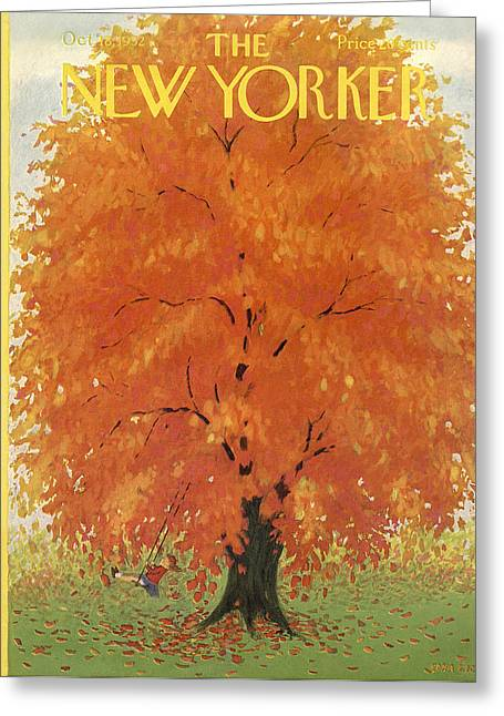 Little Boy Greeting Cards - The New Yorker Cover - October 18th, 1952 Greeting Card by Conde Nast