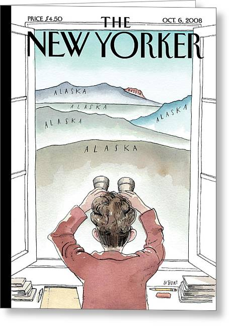 Room With A View Greeting Cards - The New Yorker Cover - October 6th, 2008 Greeting Card by Conde Nast