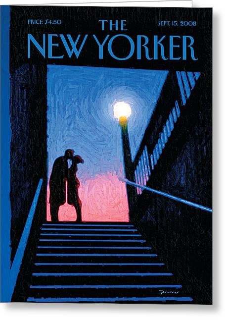 Couple Hugging Greeting Cards - The New Yorker Cover - September 15th, 2008 Greeting Card by Conde Nast