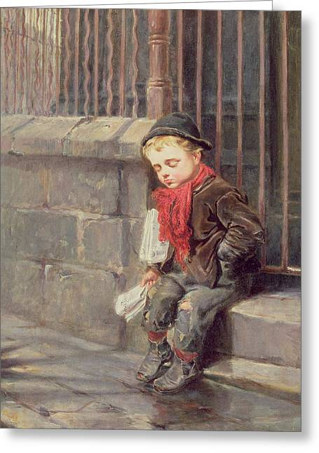 Sleepy Greeting Cards - The News Boy Greeting Card by Ralph Hedley