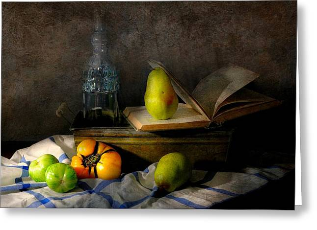 Still Life With Pears Greeting Cards - The Next Page Greeting Card by Diana Angstadt