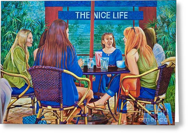 Coffee Drinking Paintings Greeting Cards - The Nice Life Greeting Card by AnnaJo Vahle