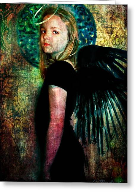 Night Angel Greeting Cards - The Night Angel Greeting Card by Perennial Dreams Studios