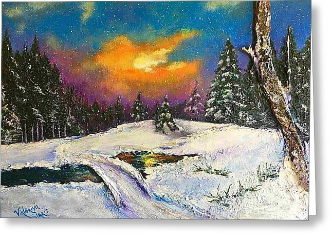Pallet Knife Greeting Cards - The Night Before Christmas Greeting Card by Viktoriya Sirris