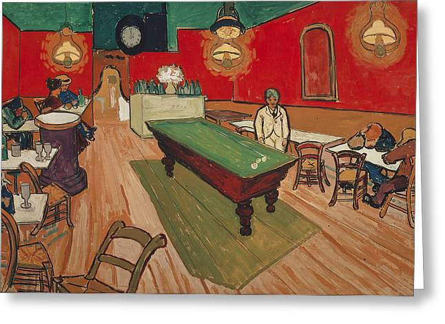Night Cafe Greeting Cards - The Night Cafe in Arles Greeting Card by Vincent van Gogh