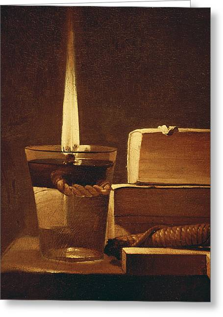Wick Greeting Cards - The Night Light Greeting Card by Georges de la Tour