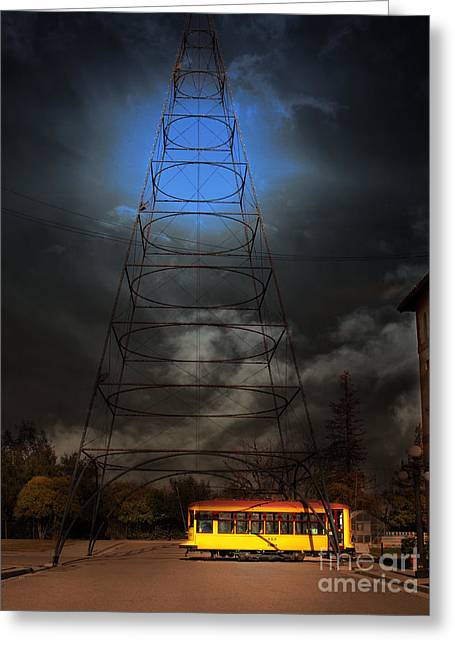 Old Street Greeting Cards - The Night The Old San Jose Railroads Cablecar Trolley 143 Reappeared . 7D12959 Greeting Card by Wingsdomain Art and Photography