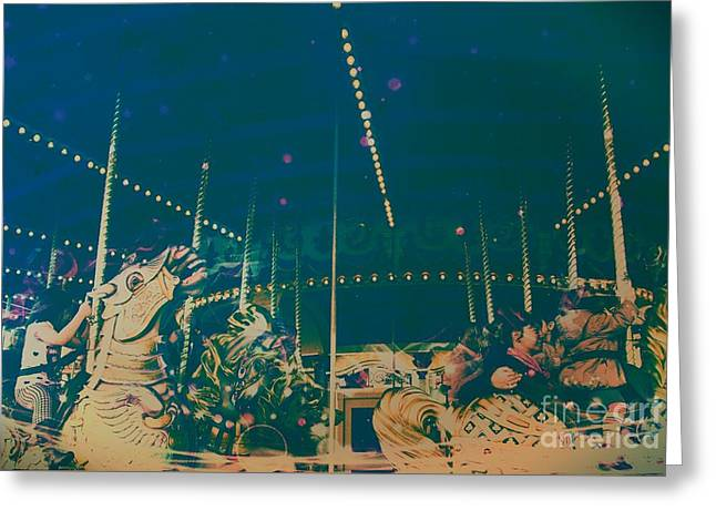 Amusements Greeting Cards - The Nightmare Carousel 16 Greeting Card by Marina McLain