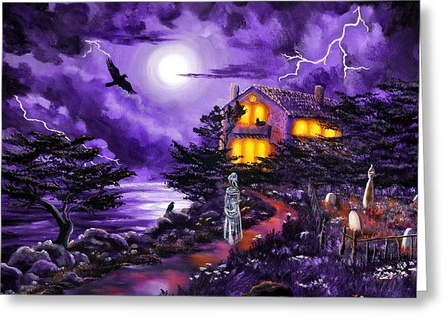 The Night's Plutonian Shore Greeting Card by Laura Iverson