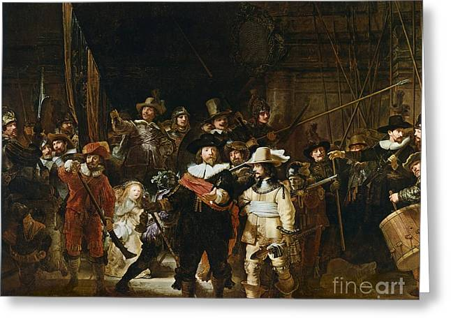 Watch Paintings Greeting Cards - The Nightwatch Greeting Card by Rembrandt