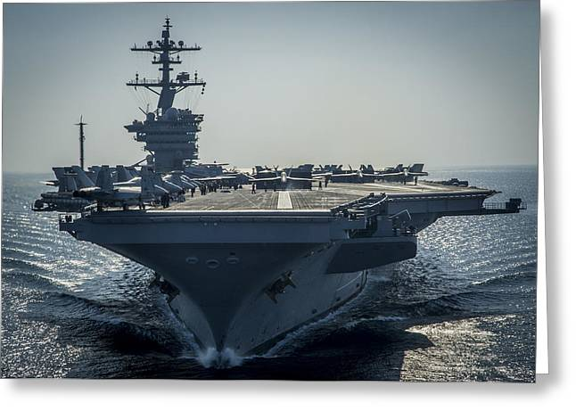 First-class Greeting Cards - The Nimitz-class aircraft carrier USS Carl Vinson Greeting Card by Celestial Images