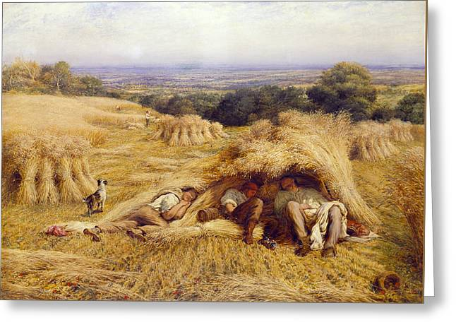 """hard Work"" Greeting Cards - The Noonday Rest Greeting Card by John Linnell"