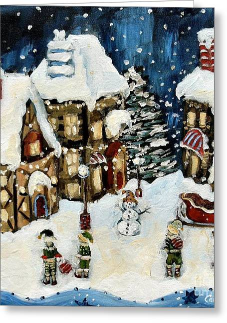 Carrie Joy Byrnes Greeting Cards - The North Pole Greeting Card by Carrie Joy Byrnes
