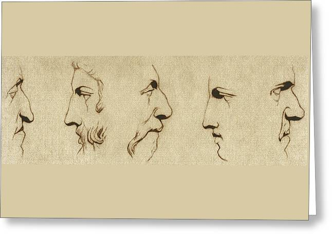 The Noses - Sepia Greeting Card by Stevie the floating artist