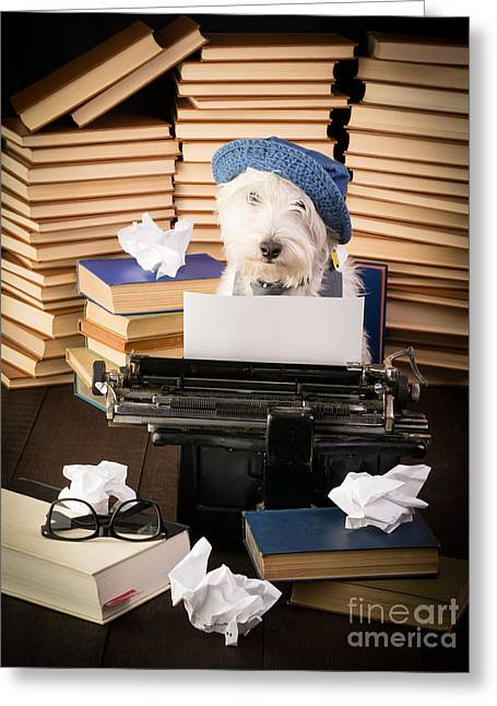 Puppies Greeting Cards - The Novelist Greeting Card by Edward Fielding
