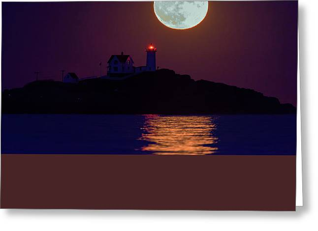 The Nubble And The Full Moon Greeting Card by Rick Berk