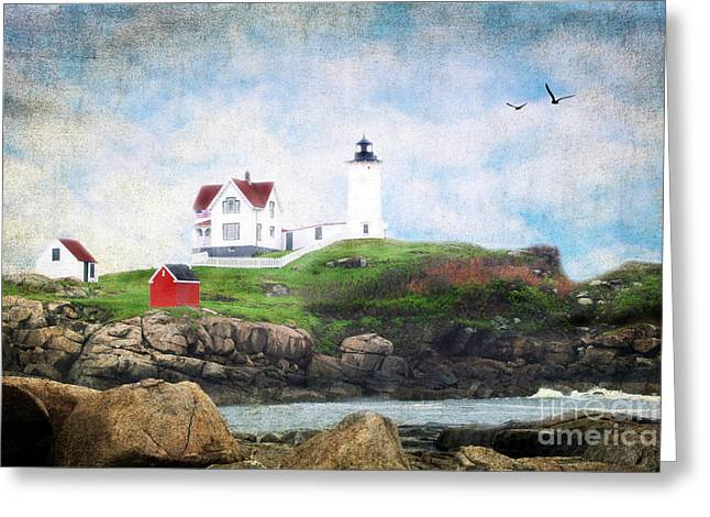 Cape Neddick Lighthouse Greeting Cards - The Nubble Greeting Card by Darren Fisher