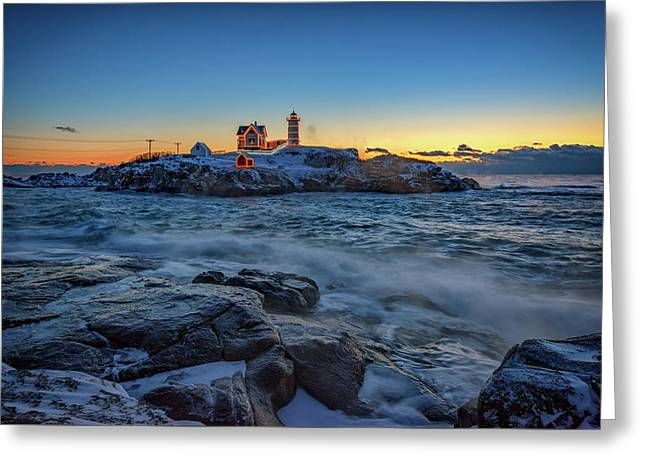 The Nubble In Winter Greeting Card by Rick Berk