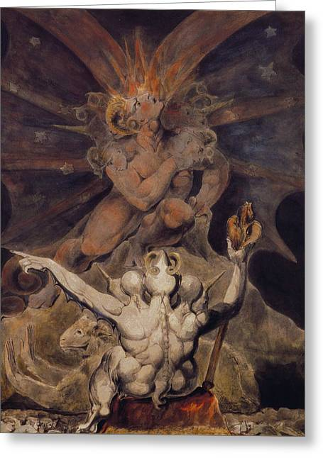 The Number Of The Beast Is 666 Greeting Card by William Blake
