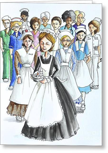 Apron Drawings Greeting Cards - The Nursing Generation for Nurses Day. Greeting Card by Gertrudes  Asplund