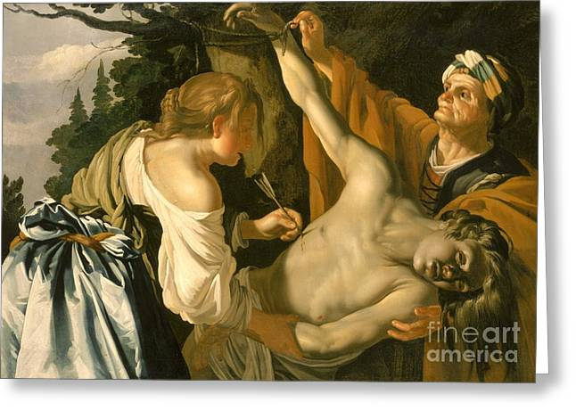 Charity Paintings Greeting Cards - The Nursing of Saint Sebastian Greeting Card by Theodore van Baburen