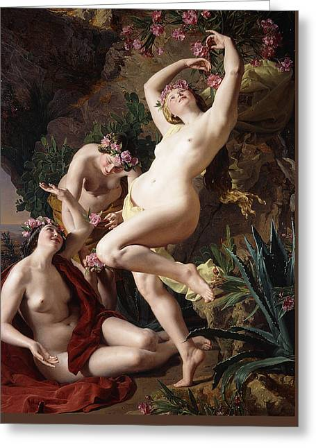 The Nymphs In Homer's Odyssey Greeting Card by Ferdinand Georg Waldmuller