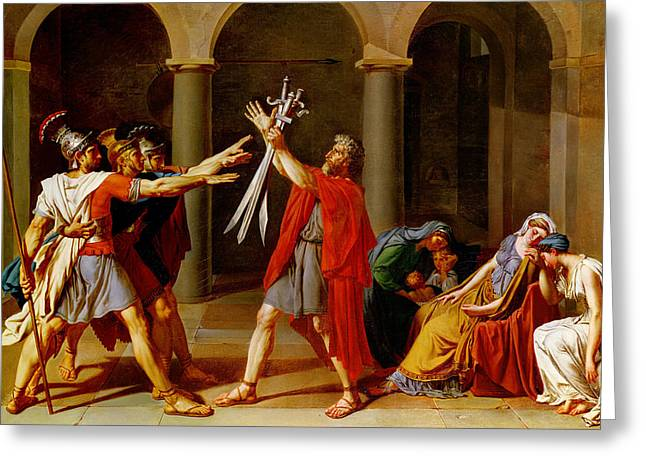 The Oath Of The Horatii Greeting Card by Jacques Louis David