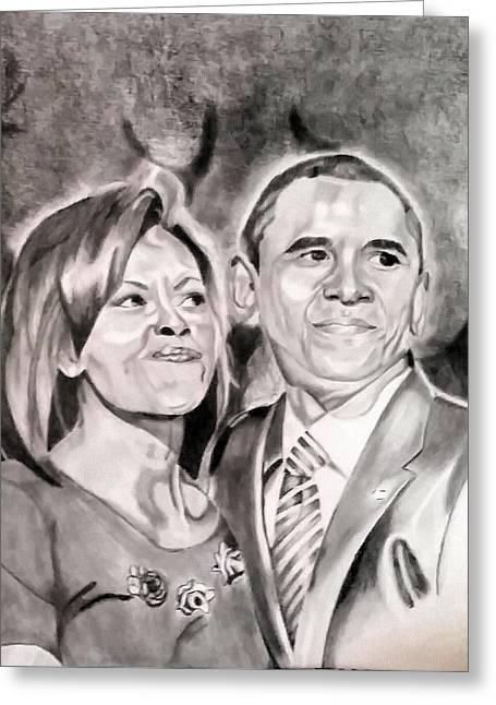 The Obamas Greeting Card by Nina Carpenter