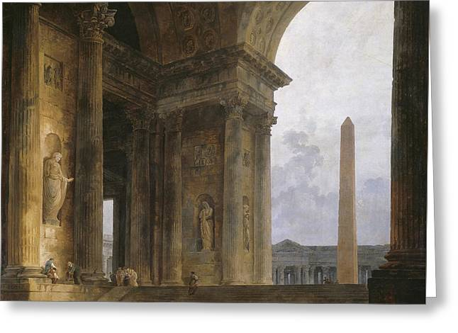 The Obelisk Greeting Card by Hubert Robert