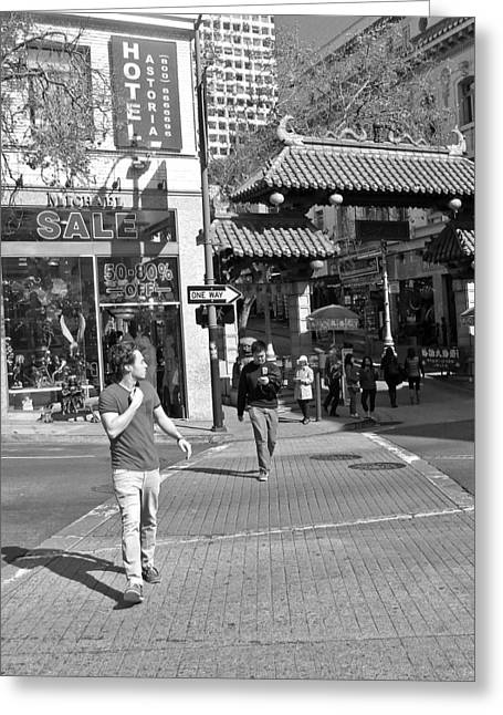 Crosswalk Greeting Cards - The Walker   Greeting Card by D M