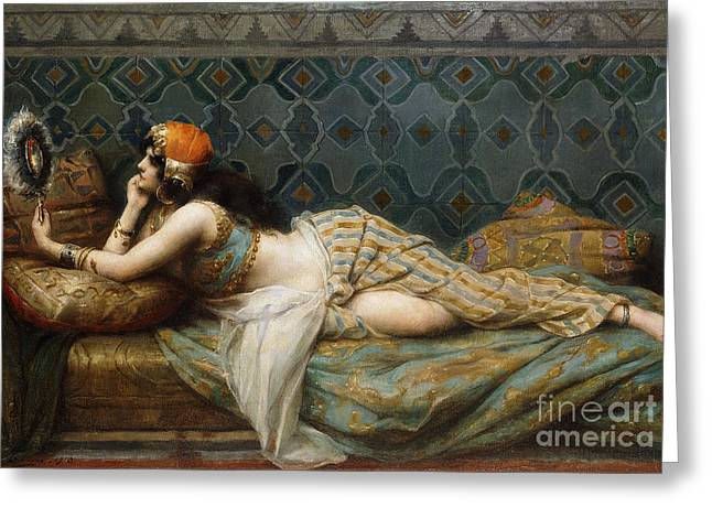 The Odalisque Greeting Card by Adrien Henri Tanoux