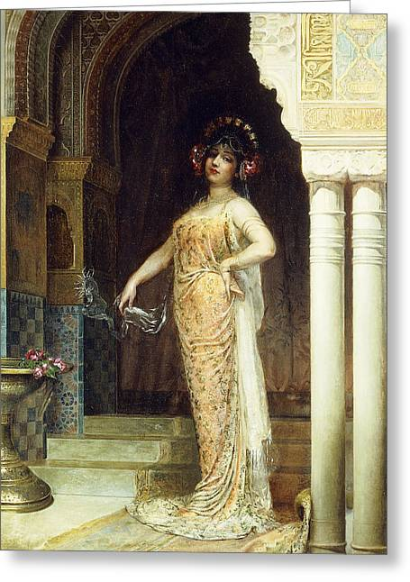 The Odalisque Greeting Card by Edouard Frederic Wilhelm Richter