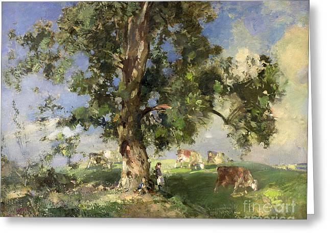 The Old Ash Tree Greeting Card by Edward Arthur Walton