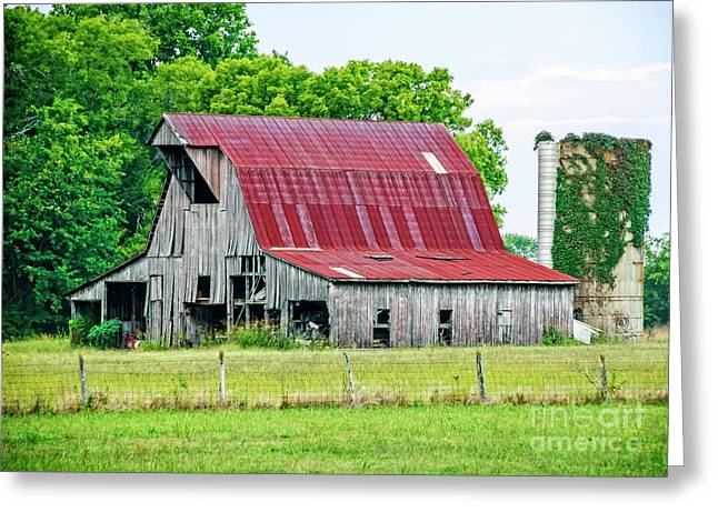 Red Roofed Barn Greeting Cards - The Old Barn Greeting Card by Charles Dobbs