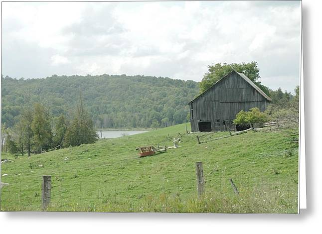 Old Barns Pyrography Greeting Cards - The old barn Greeting Card by Claude Prud