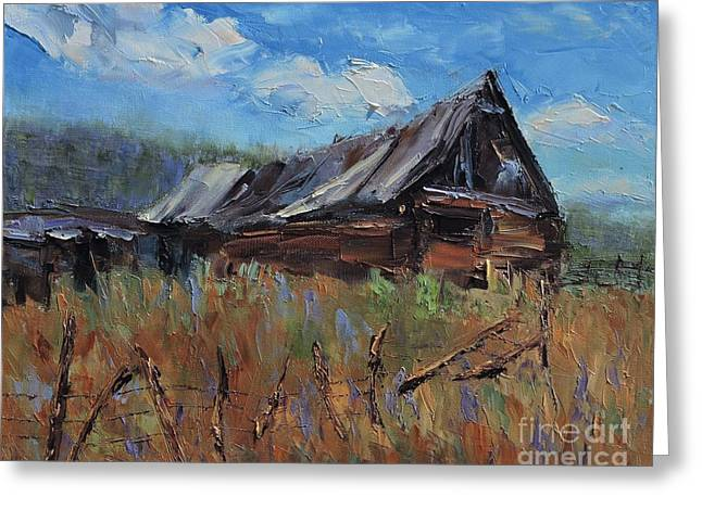 Pallet Knife Greeting Cards - The Old Barn Greeting Card by Linda Mooney